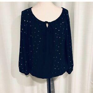 Adrienne Vittadini Black Polka dot blouse  Size M